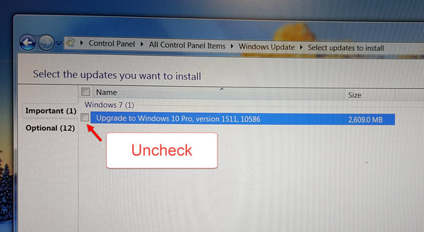 Stop Windows 10 Uncheck