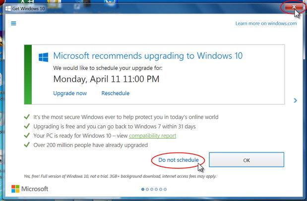 Stop Windows 10 Don't Schedule