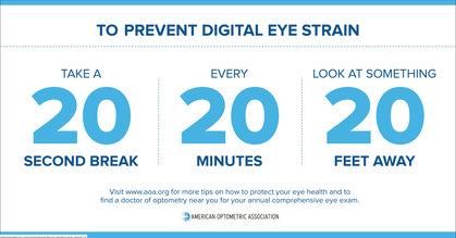 Eyestrain The American Optometric Association's 20-20-20 Rule