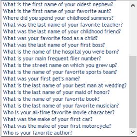 security questions list 2 pc ninja