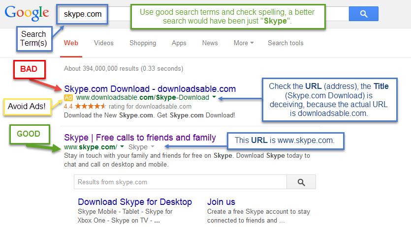 Safe Browsing Skype Google Search