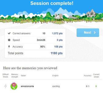 Memrise Online Language Learning Session Complete